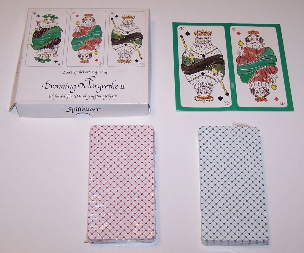 """Double Deck """"Dronning Margrethe II"""" Playing Cards, Queen Margrethe II Designs, Hans Christian Andersen """"Shepherdess and Chimneysweeper,"""" c.1994"""