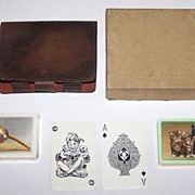 "Waddington Bridge Set w/ 2 Decks of Playing Cards, Score Pad, and Pencil, Leather (or Faux Leather) Case: (i) Barribal's ""Pheasant"" from ""British Sporting Birds"" Series: (ii) Kittens (Unknown Artist), c.1933"