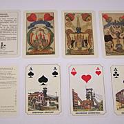 "2 Decks German Mining Skat Playing Cards $20/ea.: (i) Rupert Höll ""Bergmannskarte,"" Facsimile Edition [Original by Industrie Comptoir c.1840]; (ii) ASS (?) ""Saarberg"", c.1981"