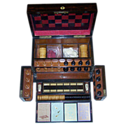 Victorian Walnut Games Compendium w/ Leather Game Board, Staunton-Type Chess Set, Checkers, ..