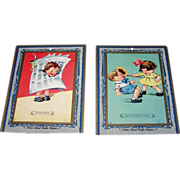 "2 Large ""Poker Game"" Cards, Titled ""Good News"" and ""Say It With Flowers,"" Signed ."