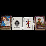 2 Decks Waddington Golf-Themed Playing Cards, Miss Hittie and McCaddie Backs, c.1935-1945
