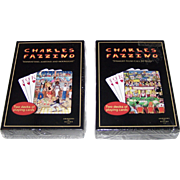 """2 Double Deck Sets """"Charles Fazzino"""" Playing Cards, $15/ea.; (i) """"Manhattan, Martinis an"""