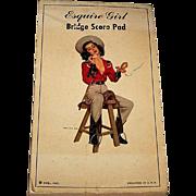 """Esq., Inc. """"Esquire Girl Bridge Score Pad,"""" Ben-Hur Baz Illustration (""""Calamity""""), c.1"""