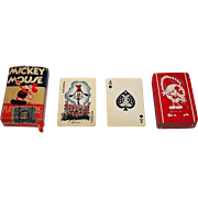 """Western Playing Card Co. """"Mickey Mouse"""" Patience Playing Cards, """"Goofy"""" Joker c.1930"""