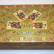 Bezique Set, Anglo-Indian Kashmiri (Srinagar) Painted Wood Box w/ De La Rue Playing Cards, c.1870