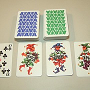 """SOLD Double Deck Coeur """"Gracia"""" (""""Grace"""") Playing Cards, Hannelore Heise Designs, c.19"""