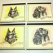 Set (4) Bridge Score Pads (Auction/Contract), Publisher Unknown, Scottish Terrier and Cocker Spaniel Dogs, c.1930