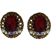 """WEST GERMAN"" Rudy Red Large Faceted Rhinestone and Faux Pearl Clip Earrings"