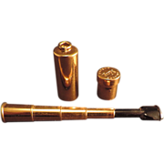 SOLD Scope Vintage Cigarette Holder Gold Telescoping Holder Case 1940 s Bakelite Tip