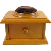 Mauchline Ware Sewing Box with Drawer and Pin Cushion