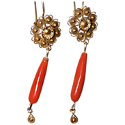 Antique Mexican Coral Drop Earrings