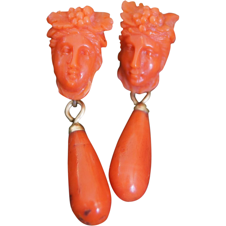 Antique Bacchus Carved Coral Earrings With Drops