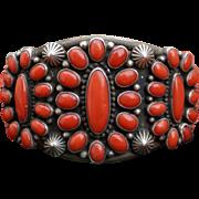 Classic Heavy Natural Oxblood Coral Navajo Bracelet