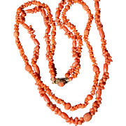 Antique Finely Carved Coral Necklace