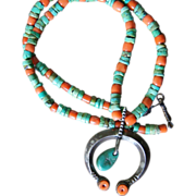 Early Green Turquoise And Coral Necklace With Naja