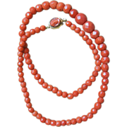Orange Faceted Coral Necklace With Cameo Clasp