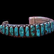 Navajo Row Bracelet With High Eighteen High Grade Sleeping Beauty Turquoise Stones