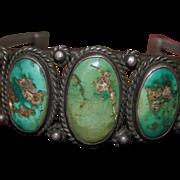 Vintage Navajo Drawn Wire Heavy Bracelet With Cerrillos Turquoise