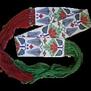 SALE PENDING 1880's Winnebago Indian Woven Belt With Germantown Wool Fringe