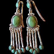 Cerrillos Turquoise Earrings 1920's