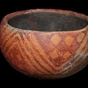 "Hohokam Red On Orange Ware 5"" Bowl 800-1200 AD"