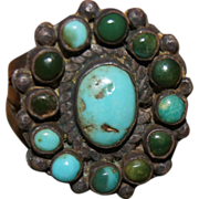 """Fine Zuni Cluster Ring With """"Snake Eyes"""" Turquoise Stones"""
