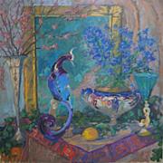 SOLD Peacock Oil Painting by Laguna Beach Artist Rachel Uchizono