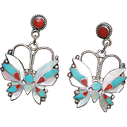 REDUCED Rosita Wallace Zuni Butterfly Dangle Earrings
