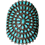 Huge Navajo Sunburst Turquoise Early Cluster Bracelet