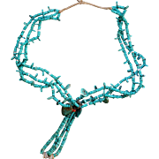 Navajo  Turquoise Ceremonial Necklace With Jaclas