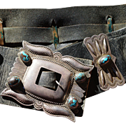 Navajo Large Size Bisbee Turquoise Second Phase Concho Belt