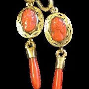 Vintage Coral Cameo Drop Earrings