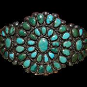 Vintage Zuni Turquoise Cluster Bracelet