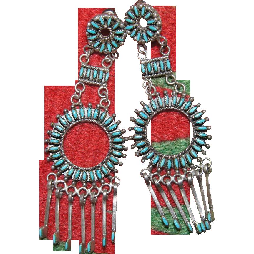 Vintage Zuni  Needlepoint Turquoise Earrings