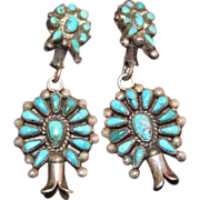 Vintage Zuni Squash Blossom Natural Turquoise Earrings