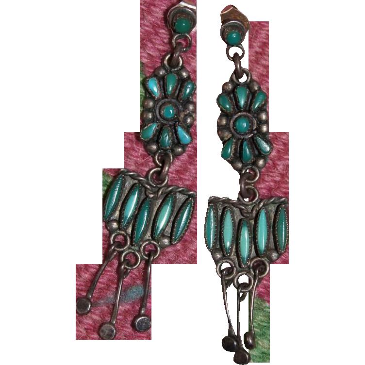 Vintage Zuni Turquoise Earrings