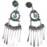 REDUCED Vintage Zuni Chandelier Turquoise Earrings