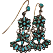 Vintage Zuni Turquoise Star Earrings