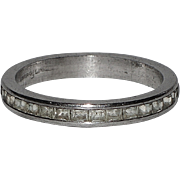 Art Deco Sterling Silver Baguette Eternity Ring ~ Size 6.5 US