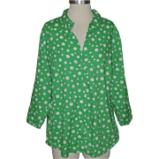 "SALE PENDING Martha's Vineyard Lemon Grass Studio Green Polka Dot Blouse ~ 40"" Bust"