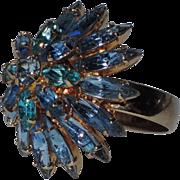 RARE ~ Napier 1960's Tiered Sapphire-Aqua Blue Rhinestone Cocktail Ring