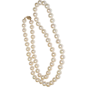 Natural Baroque Pearl Opera Length Vintage 1960's Necklace ~ Italy 14K Gold Clasp