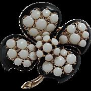 Trifari 1960's Trembler Flower Brooch ~ Glass Cabochons & Enamel
