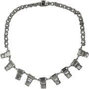 REDUCED 1950's Sterling 12K Gold Filled Baguette Rhinestone & Crystal Necklace