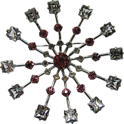 SALE Kramer Sterling Mid Century Atomic Crystal Brooch ~ VERY RARE