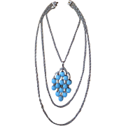 Trifari 1970's Waterfall Blue-Silver Tone Pendant Necklace