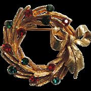 Mylu Christmas Holiday Wreath Brooch