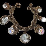 REDUCED Accessocraft N.Y.C. 1960's Clear Glass & Crystal Charm Bracelet