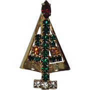 SALE PENDING Hobe Petite Rhinestone Christmas Tree Pin ~ Book Piece